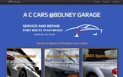 A C Cars - website design from A Clear Web Worthing