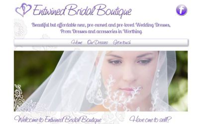 Entwined Bridal Boutique Worthing - website design from A Clear Web Worthing