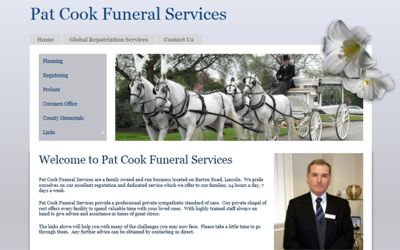 Pat Cook Funeral Services - website design from A Clear Web Worthing