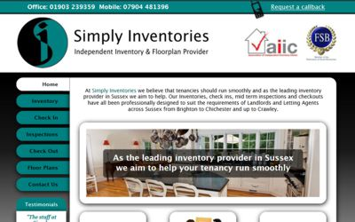 Simply Inventories Worthing - website design from A Clear Web Worthing