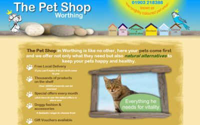 The Pet Shop Worthing - website design from A Clear Web Worthing