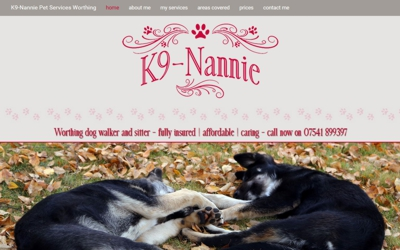 Dog walker Worthing | k9-nannie - website design & SEO from A Clear Web Worthing