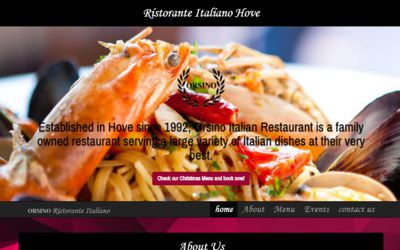 Orsino Italian Restaruant | Hove - website design from A Clear Web Worthing