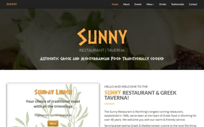 Sunny Restaurant |Taverna - website design & SEO from A Clear Web Worthing